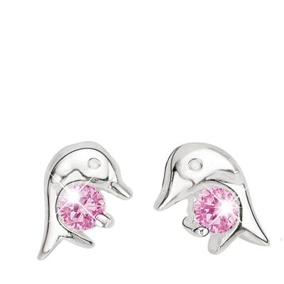 Silberne Kinderohrringe Delphin mit rosafarbenem Zirkonia