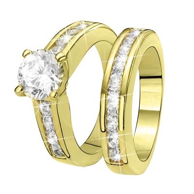 Vergoldeter 2-teiliger Eve Ring mit Zirkonia