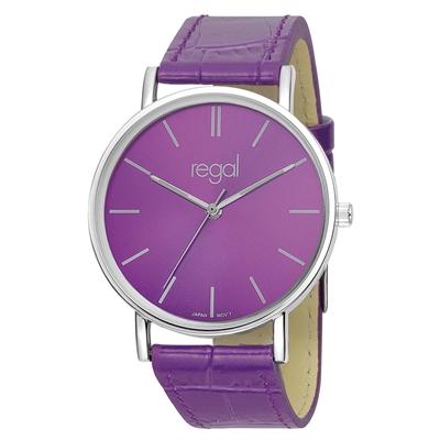 Regal-Uhr Slimline mit lila Lederband R16280-10__1013283__0