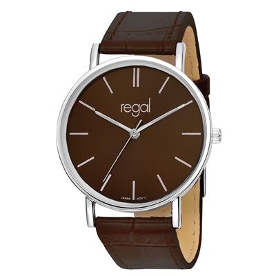Regal-Uhr Slimline mit braunem Lederarmband R16280-11__1013285__0