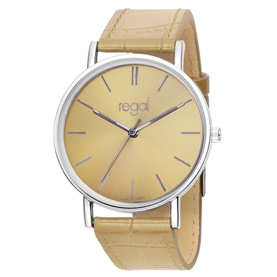 Regal horloge Slimline beige leren band R16280-14__1013295__0
