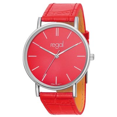 Regal horloge Slimline rode leren band R16280-16__1013298__0