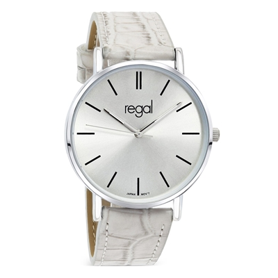 Regal horloge Slimline taupe leren band R16280-18