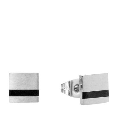 Quadratische Herrenohrringe aus Edelstahl mit schwarzem Detail__1015509__0
