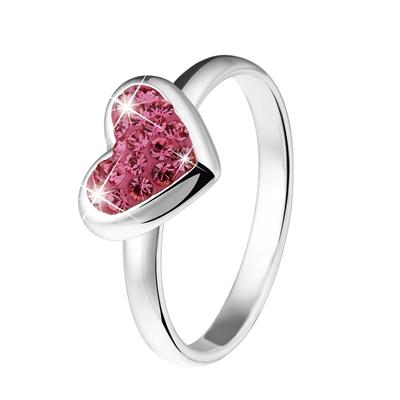 Silberring für Kinder mit rosafarbenem Kristall