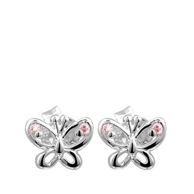 Silberne Kinderohrringe Schmetterling rosa mit Zirkonia__1017912__0