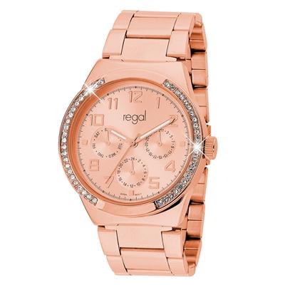 Regal-Uhr Elegant mit rotgoldenem Band R1328R-032__1019338__0