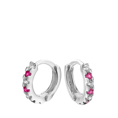 Silberne Kinderohrringe mit rosa&weißem Zirkonia