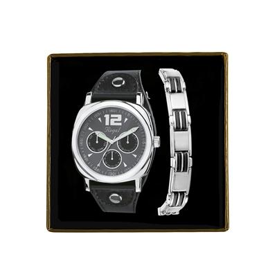 Set mit Armband und Regal-Armbanduhr aus Edelstahl