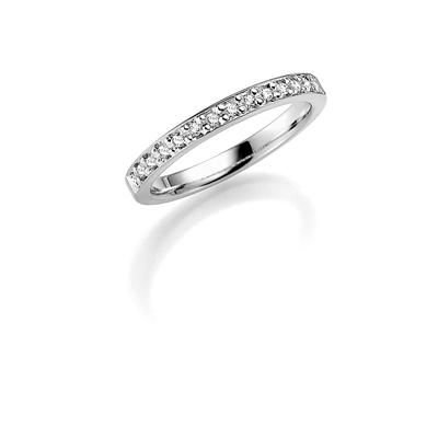 14K witgouden trouwring diamant Cassia H165