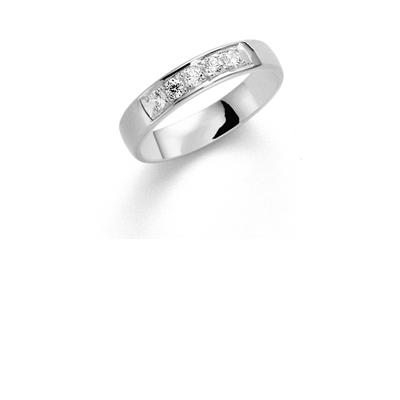 14K witgouden trouwring diamant Lupine H185