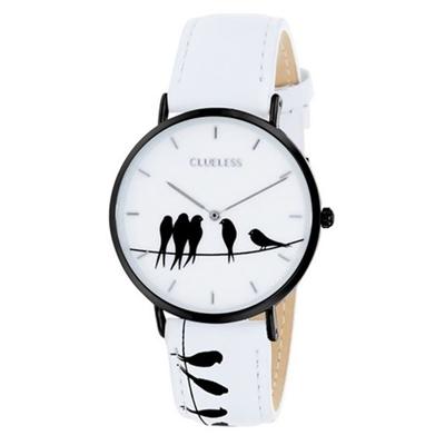 Clueless-Uhr mit weißem Lederarmband__1043577__0