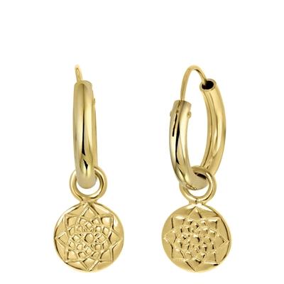 Goldplated oorbel hanger rond/bloem__1054306__0