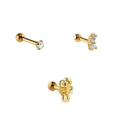 Tragus-Piercing-Set aus Edelstahl, goldfarben, Kristall/Zirkonia