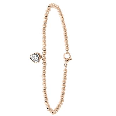 Stalen armband rose bol/hart wit kristal