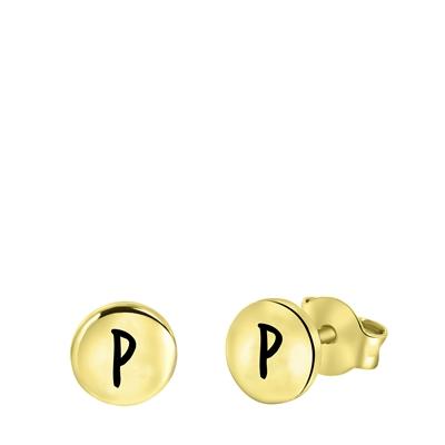 Silberohrringe, runder Anhänger, vergoldet, Alphabet__1056533__0