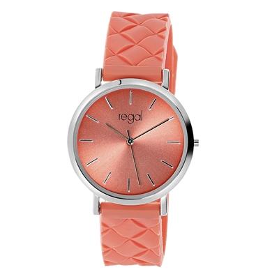 Regal Armbanduhr mit korallenfarbenem Kautschukband__1056650__0