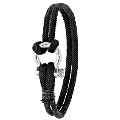 Stalen armband zwart stof