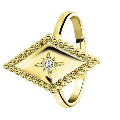 Goudkleurige byoux ring met ruit en steentje
