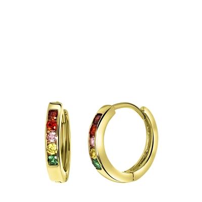 Ohrringe, vergoldet, Regenbogen-Zirkonia, 13 mm