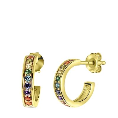 Ohrringe, vergoldet, Regenbogen-Zirkonia, 9 mm