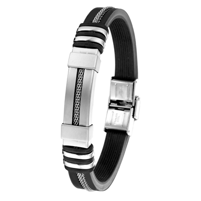Herrenarmband aus Edelstahl, schwarz, Silikon