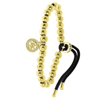 Vergoldetes Edelstahl-Armband von Guess, Kordeloptik, 4G-Logo