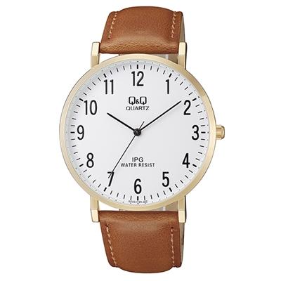 Q&Q Armbanduhr mit Lederarmband__1057827__0