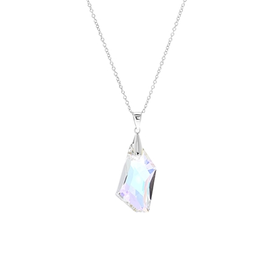 Zilveren ketting&hanger Swarovski kristal AB__1057933__0