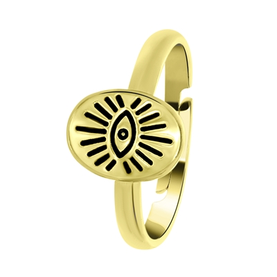 Goudkleurige byoux ring met ovale zegel