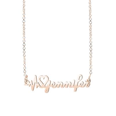 Zilveren naamketting gold heartbeat__1058381__0