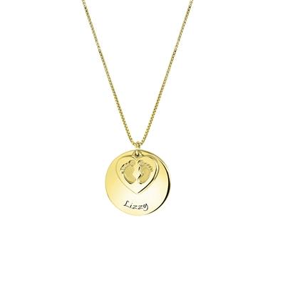 Zilveren ketting gold babyvoetjes gravering__1058443__0