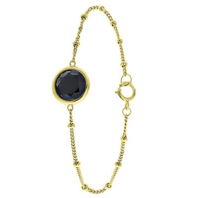Zilveren armband gold Gemstone black onyx