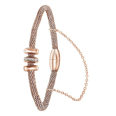 Stalen armband mesh roseplated met kristal__1058698__0