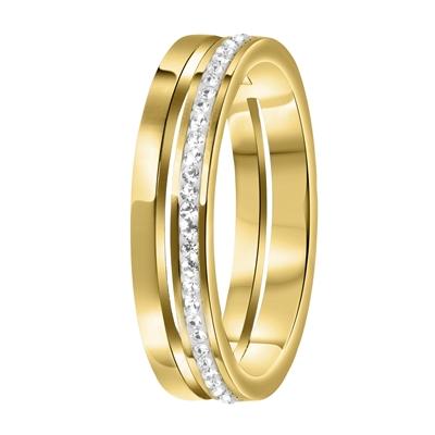 Stalen ring goldplated 2rij met kristal__1058712__0