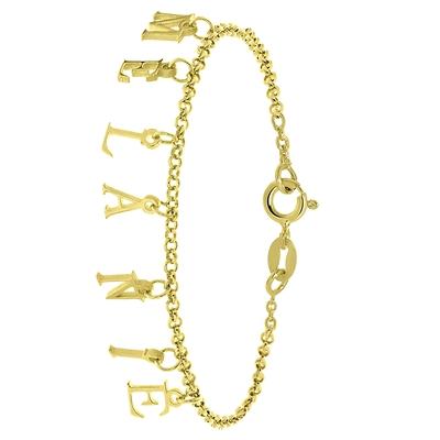 Zilveren naamarmband gold dangling letters