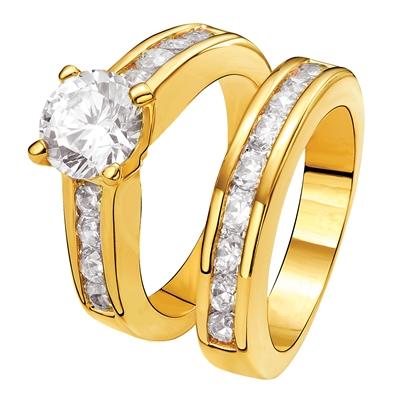 Vergoldeter 2-teiliger Eve Ring mit Zirkonia__1012594__0