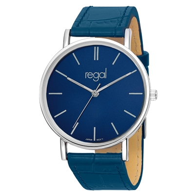 Regal-Uhr Slimline mit blauem Lederband R16280-13__1013290__0