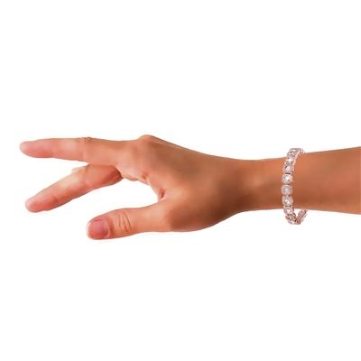 Stalen armband rose vierkante schakel zirkonia