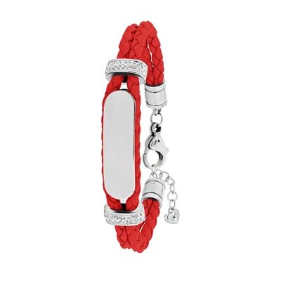 Stalen plaatarmband leer rood met kristal__1036158__0