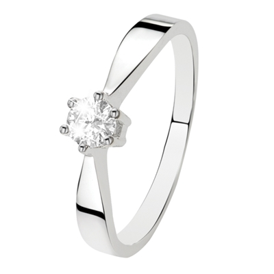 Witgouden solitair ring met diamant (0,20ct.)