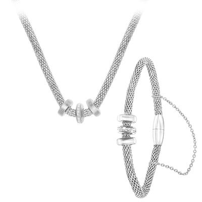 Halskette & Armband aus Stahl, 3 Ringe mit Kristall__1041359__0