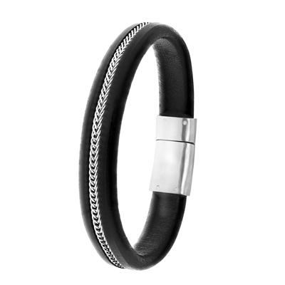 Stalen armband zwart leer__1041954__0
