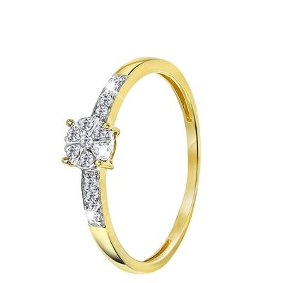 14 Karaat geelgouden ring entourage met diamant__1043156__0