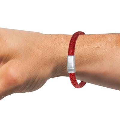 Stahl-Herrenarmband mit geflochtenem Leder in Rot__1043514__1