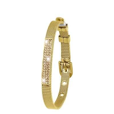 Stalen armband goldplated mesh riem met kristal__1043444__0