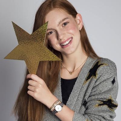 Kinderarmband aus Stahl, rotvergoldet mit weißem Kristall__1044594__1