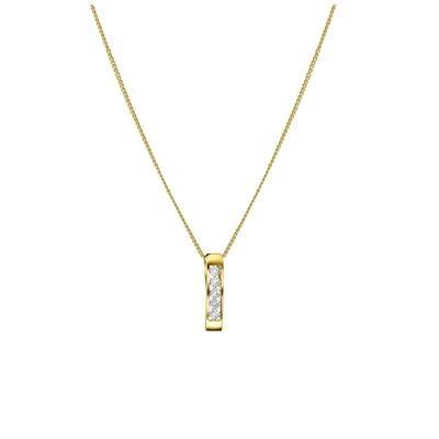 14 Karaat geelgouden ketting met diamant 0,01ct