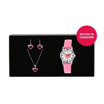 Little Miss Lovely Armbanduhr mit einem rosafarbenen Lederband