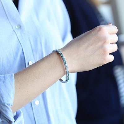 Stalen armband bangle turquoise kristal